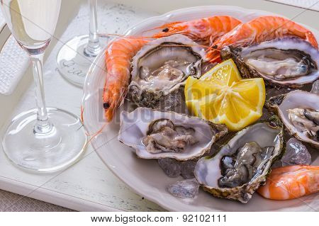 Garnished Oysters Shell, Jumbo Shrimp With Lemon On Ice