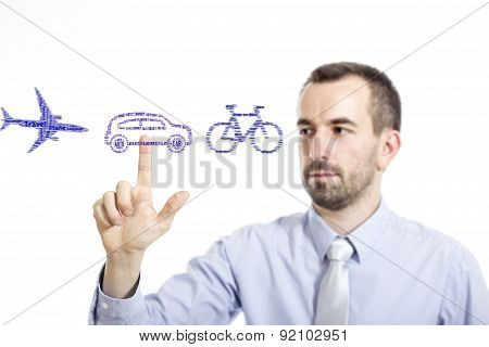 Young Buinessman Select Transport Mode Word Cloud