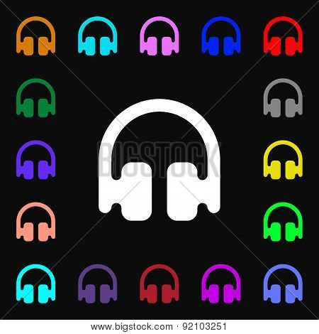 Headphones, Earphones Icon Sign. Lots Of Colorful Symbols For Your Design. Vector