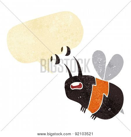 cartoon frightened bee with speech bubble