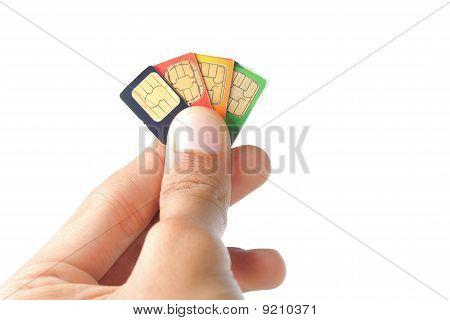 hand holding sim card