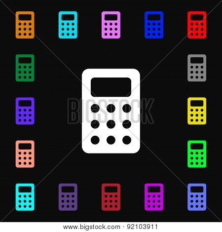 Calculator, Bookkeeping Icon Sign. Lots Of Colorful Symbols For Your Design. Vector