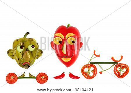 Creative Food Concept. Positive And Negative Funny Little Peppers Want To Play Sports