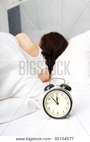 Beautiful woman sleeping in bed.