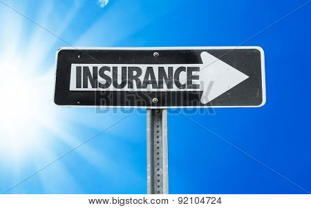 Insurance direction sign with a beautiful day