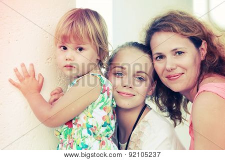 Caucasian Family, Mother With Two Daughters