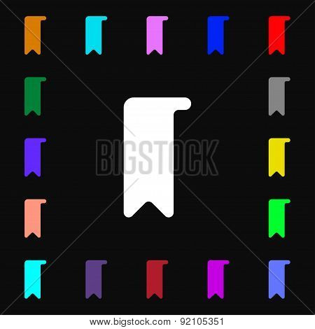 Bookmark Icon Sign. Lots Of Colorful Symbols For Your Design. Vector