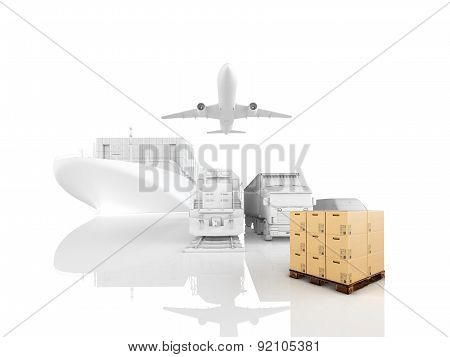 different types of cargo. 3d rendering