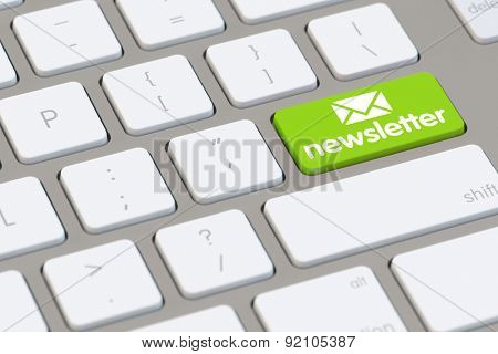 Register for our newsletter online with green button on computer keyboard (3D Rendering)
