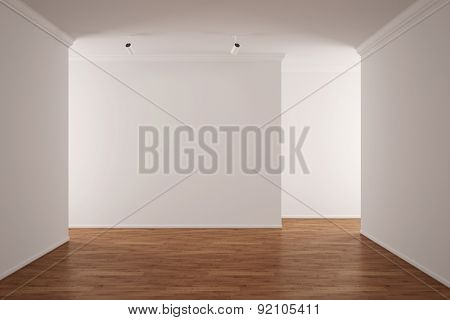Empty living room in bright apartment with hardwood floor (3D Rendering)