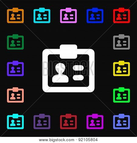 Id,  Identity Card Icon Sign. Lots Of Colorful Symbols For Your Design. Vector
