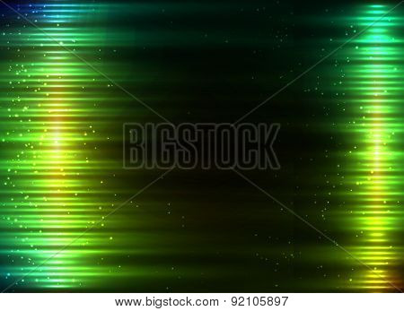 Green glowing lights vector abstract background