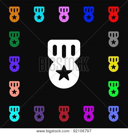 Award, Medal Of Honor Icon Sign. Lots Of Colorful Symbols For Your Design. Vector