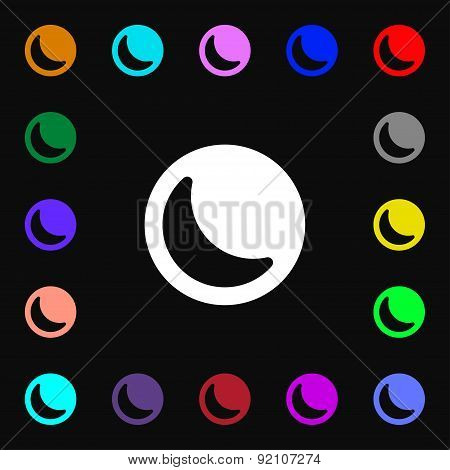 Moon Icon Sign. Lots Of Colorful Symbols For Your Design. Vector