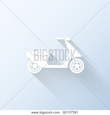 Flat Scooter Icon With Long Shadow. Vector Illustration