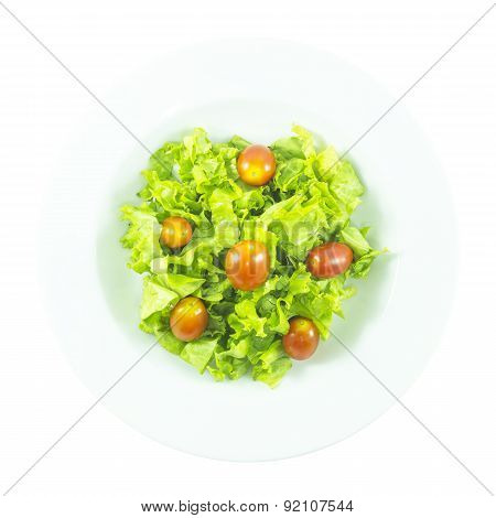 Contrast Salad With Red Tomato And Purple Lettuce