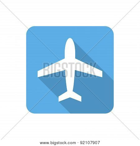 Flat Airplane Icon With Long Shadow. Vector Illustration