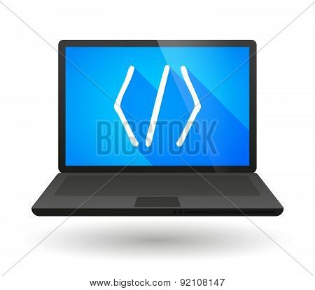 Laptop Icon With A Code Sign