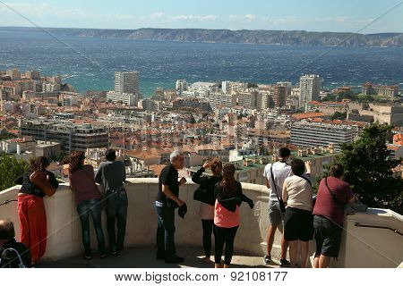 Marseille, France - July 01, 2014. Tourists Looking At Marseille From Notre-dame-de-la-garde Hill, F