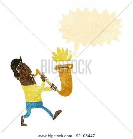 cartoon man playing saxaphone