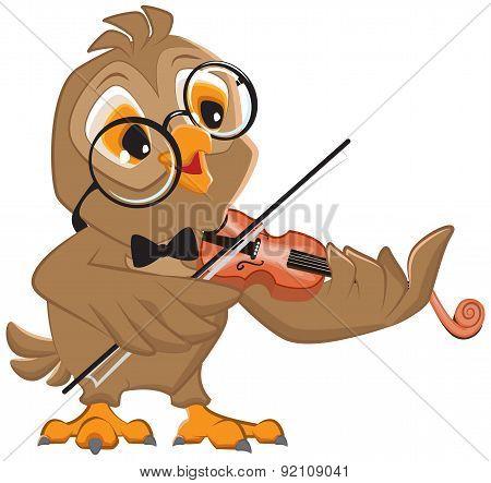 Owl plays the violin