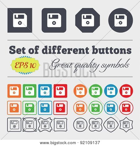 Floppy Icon Sign. Big Set Of Colorful, Diverse, High-quality Buttons. Vector