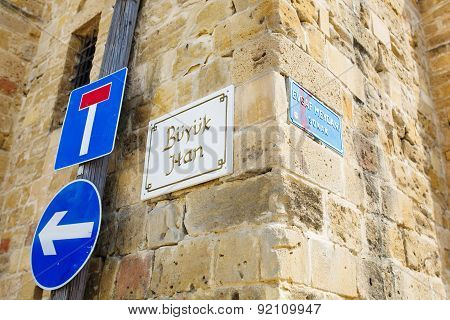 Nameplate sign of Buyuk Han (The Great Inn) Nicosia North Cyprus