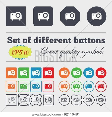 Projector Icon Sign. Big Set Of Colorful, Diverse, High-quality Buttons. Vector