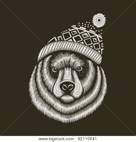 Bear hipster in knitted hat with jacquard pattern.
