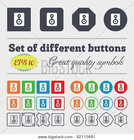 Video Tape Icon Sign. Big Set Of Colorful, Diverse, High-quality Buttons. Vector