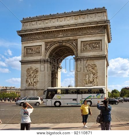 Paris, France  - August 19, 2014.  Paris, France - Famous Triumphal Arch Located At The End Of Champ