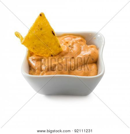 mexican nachos chips  on white background