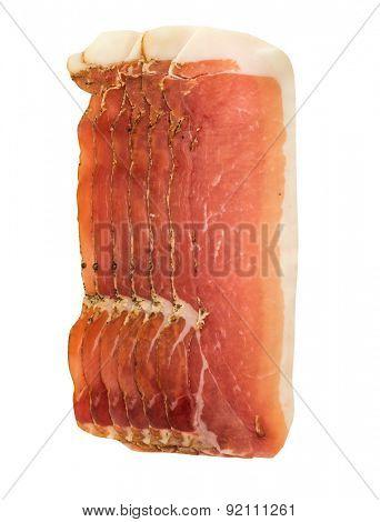 platter of spanish cured pork ham jamon isolated on white background