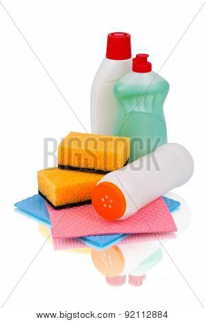 Set of cleaning products and detergents