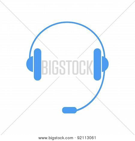 Headphones With A Microphone On A White Background.