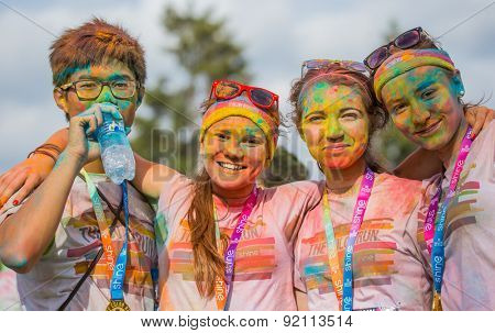 PRAGUE, CZECH REPUBLIC - MAY 30: crowds of people at the Color Run on may 30, 2015 in Prague, Czech rep. The Color Run is a worldwide hosted fun race with about 12000 competitors in Prague.