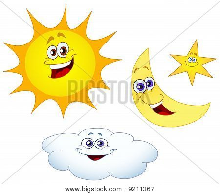 Sun Moon Star And Cloud