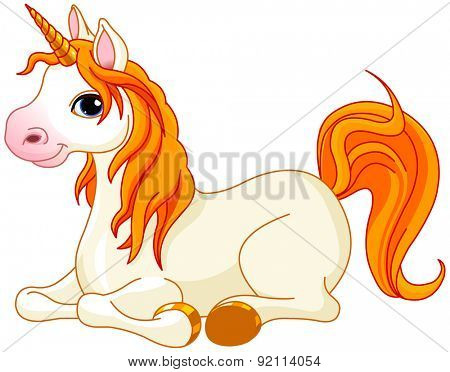 Illustration of very cute red tail unicorn