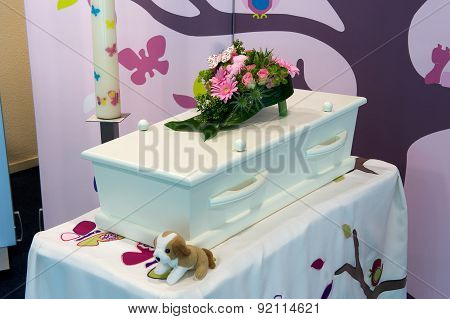 Coffin for kid in mortuary