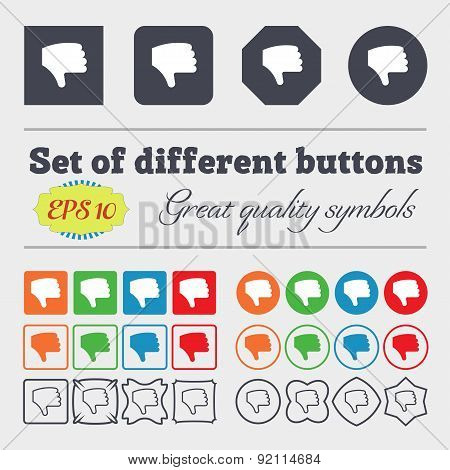 Dislike, Thumb Down, Hand Finger Down Icon Sign. Big Set Of Colorful, Diverse, High-quality Buttons.