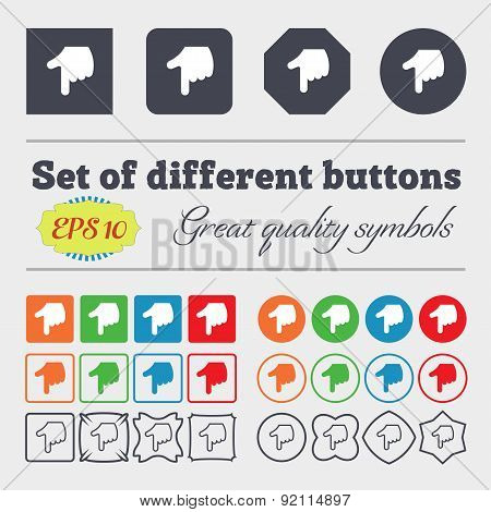 Pointing Hand Icon Sign. Big Set Of Colorful, Diverse, High-quality Buttons. Vector