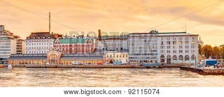 Embankment In Helsinki At Summer Sunset Evening, Finland