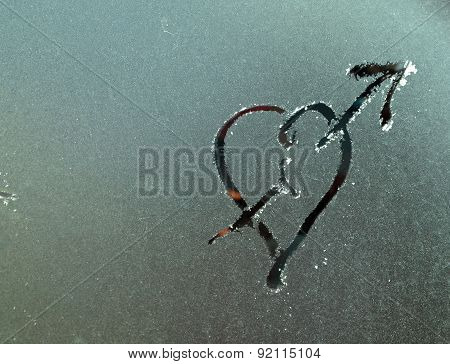 Picture Of A Frost Surface With Heart Shape