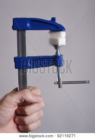 Man Hand Holding Gag Tool Grabbing Sugar Cubes In Sugar Abuse And Addiction Diet Concept