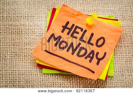 Hello Monday cheerful handwriting on sticky note