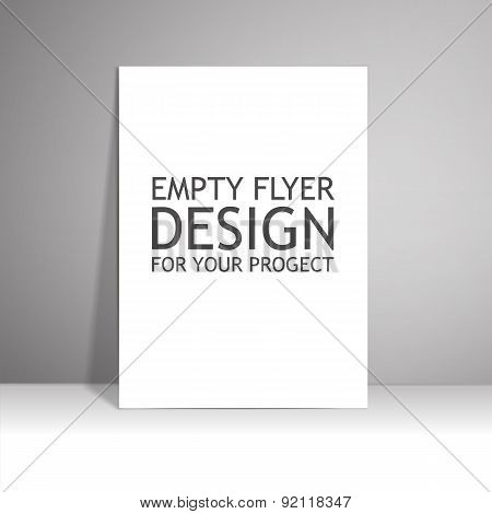 Blank paper poster on wall. Mockup presentation