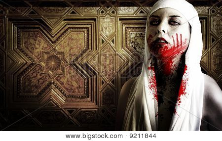 Female Vampire With Blood Stains. Gothic Image Halloween
