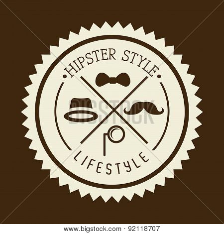hipster design over brown background vector illustration