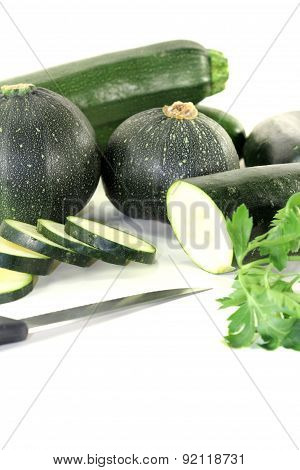 Zucchini Mixed With Parsley And Knife