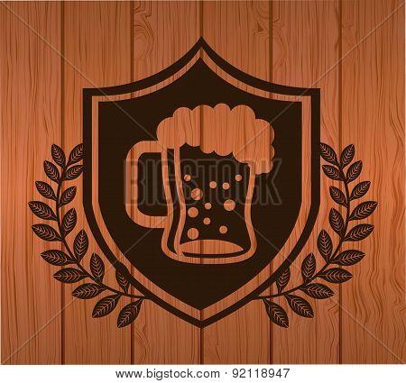 beer design over wood background vector illustration